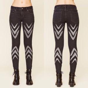 Free People Arrow Chevron Skinny Jeans